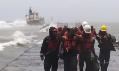 7 Ships Grounded Off Kaohsiung Port Due To Storm In Taiwan