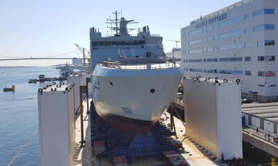 The shipbuilders at Halifax Shipyard successfully transitioned Canada's lead Arctic and Offshore Patrol Ship (AOPS), the future HMCS Harry DeWolf, from land-level onto a submersible barge for the vessels planned launch tomorrow, Saturday, September 15, 2018.