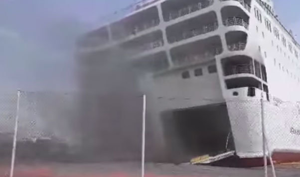 Greek Ferry Ravaged By Fire, Towed to Shipyard for Repair