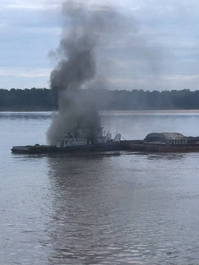 Tug Catches Fire on the Mississippi River