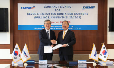 HMM signed the formal contracts for its twenty mega containerships