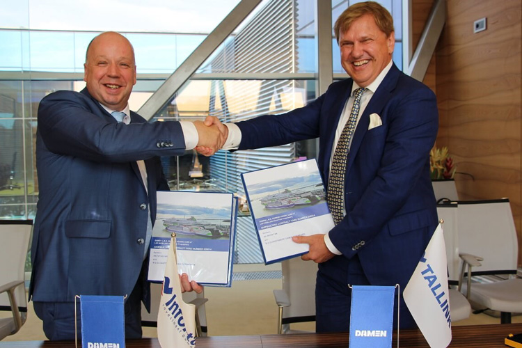 On the photo from left to right: Peter Anssems (Sales Manager for East Europe at Damen Shipyards Group), Ain Hanschmidt (Chairman of the Supervisory Board of Eesti Gaas)