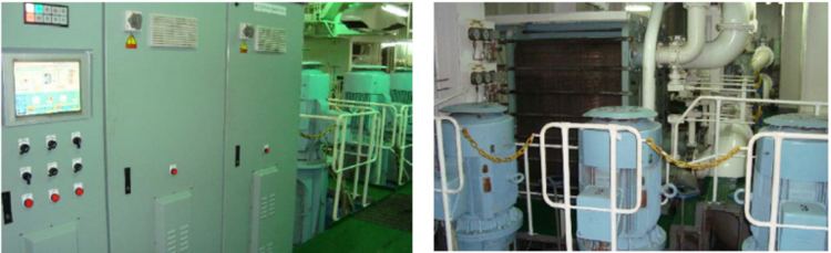 Figure 9 – Aspect of the SW circulation cooling pumps and respective Variable Speed Drives (left).
