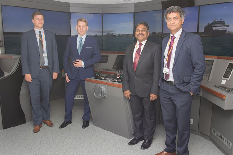 Image caption (from left to right): Lars Lippuner, Head of Commercial Operations, Warsash School of Maritime Science and Engineering; Alex Ponomarev, Area Sales Manager, Wärtsilä; Muhammad Shafique, Senior Lecturer, Warsash School of Maritime Science and Engineering; Syamantak Bhattacharya, Dean, Warsash School of Maritime Science and Engineering