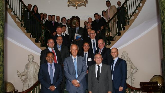 INTERCARGO's Executive Committee Members with the Management Committee members in front row (from left to right: Dimitris Fafalios, Technical Committee Chairman, Jay K Pillai Vice-Chairman, John Platsidakis Chairman, Dr. Kostas Gkonis Secretary General)