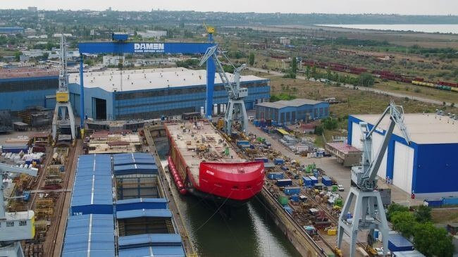 Damen Performs Successful Float-Out Of Antarctic Supply Research Vessel 11