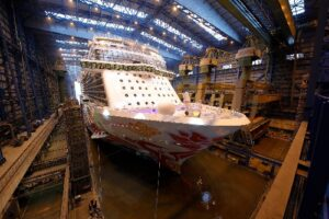 Norwegian Joy, First Custom Designed Cruise Ship for China, Floats Out from Building Dock in Germany 8