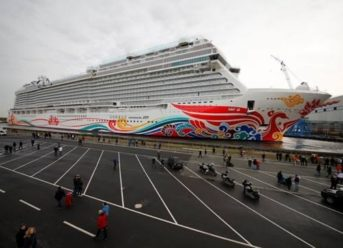 Norwegian Joy, First Custom Designed Cruise Ship for China, Floats Out from Building Dock in Germany 7