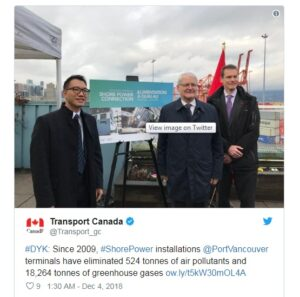 Vancouver Port Completes Shore Power Project to Reduce GHG Emissions 8