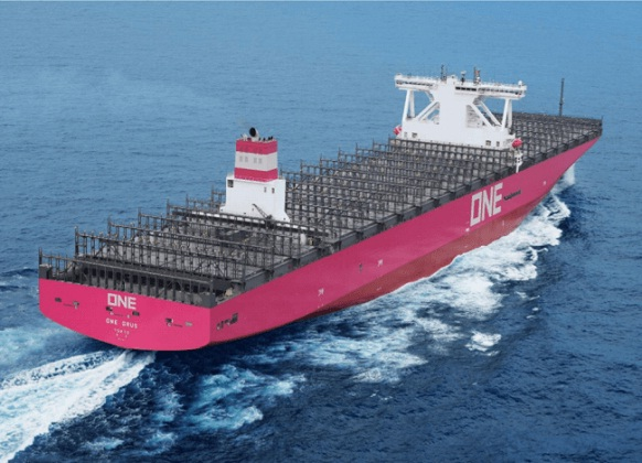 """Ocean Network Express Receives Delivery Of 14,000-TEU Containership """"ONE GRUS"""" 1"""