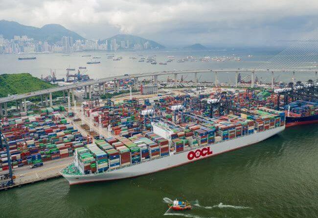 OOCL 21413 TEU Container Ship Hong Kong Makes Maiden Call To Port Of Hong Kong