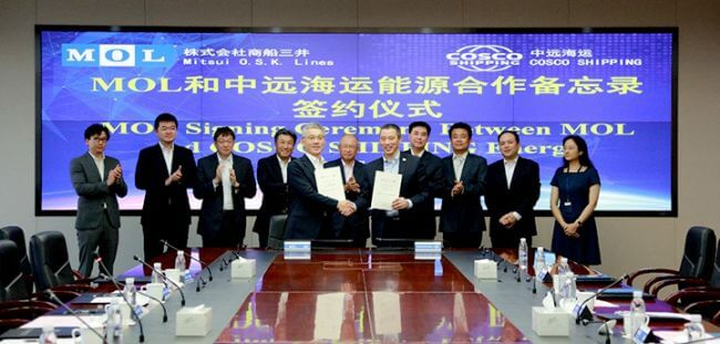 MOL And COSCO Shipping Signs MoU For Future LNGC & Ethane Carrier Projects