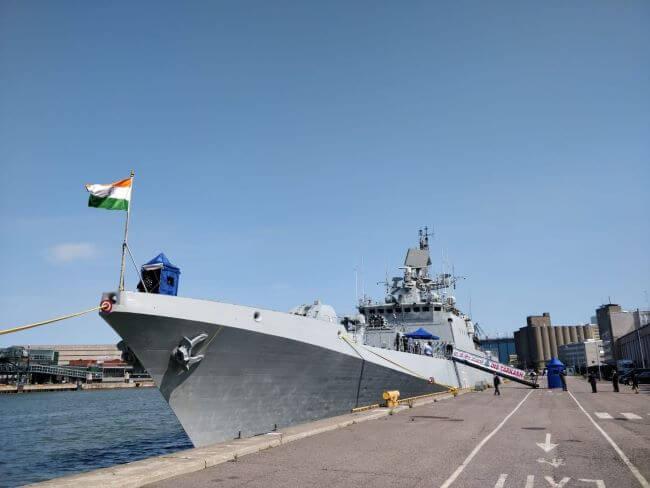 Indian Naval Ship Tarkash Arrives At Helsinki