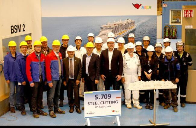 Work On AIDA LNG Cruise Ship Starts With MEYER WERFT Steel Cutting Ceremony