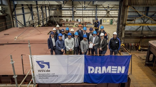 Damen Holds Keel-Laying Ceremony For WSA Koblenz's New Diving Bell Ship 5