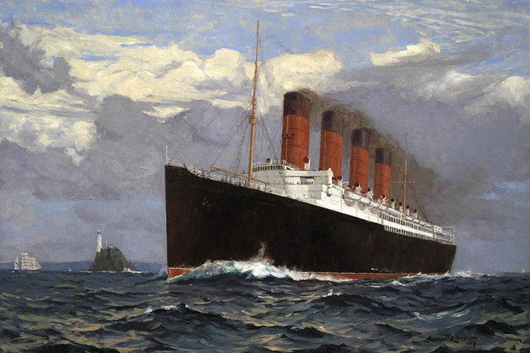 Painting of RMS Lusitania by Norman Wilkinson