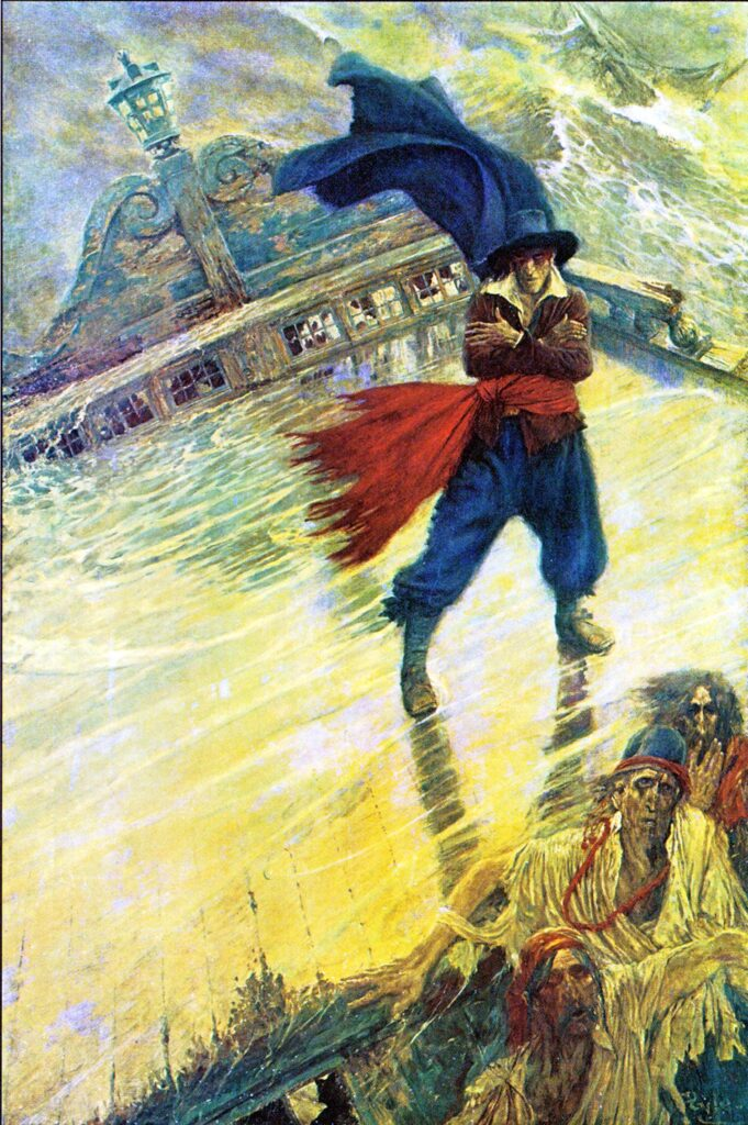 he Flying Dutchman, 1900 for Collier's Weekly, December 8, 1900. Howard Pyle (1853-1911). Oil on canvas, 72 1/4 x 48 1/8 inches. Delaware Art Museum, Museum Purchase, 1912.