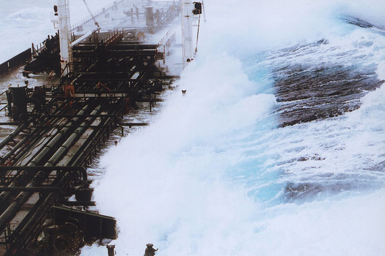 Rouge Waves: Rogue wave sequence showing 60-foot plus wave hitting tanker headed south from Valdez, Alaska.