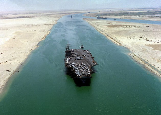 US National Archives - GetArchive The nuclear-powered aircraft carrier USS DWIGHT D. EISENHOWER on the Suez Canal