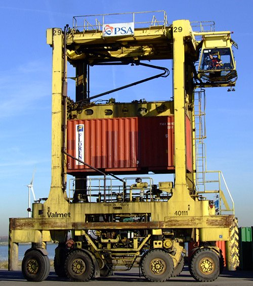 Straddle Carrier Carrying a Container